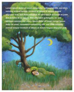 2 Kinder schlafen unter einem Baum