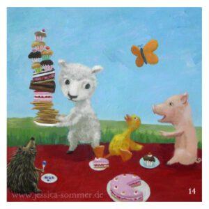 Kinderbuch-Illustration: ein Lamm, ein Igel, eine Ente und ein Ferkel machen ein gemeinsames Picknick